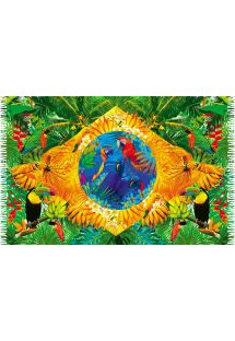 Brazil flag pareo with tropical fauna - BANDEIRA FLORAL