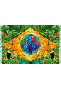 Pareo bandiera Brasile con fauna tropicale  - BANDEIRA FLORAL