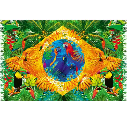 Brazil flag pareo with tropical fauna - BANDEIRA FLORAL