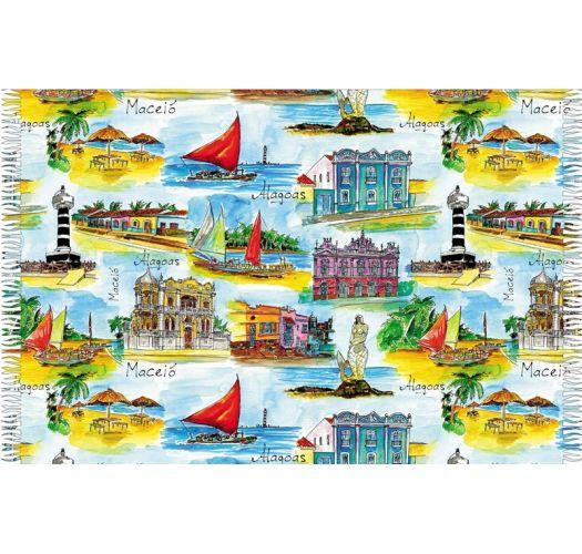 Post card pareo, places in Alagoas - CANGA ALAGOAS AQUARELA