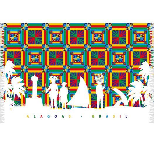 Multicoloured pareo with silhouettes of people, palm trees etc - CANGA ALAGOAS SILHUETA