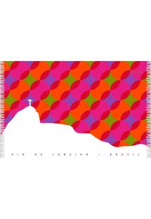 Sokszínű geometrikus mintával és Rio de Janeiro ábrázolásával díszített sarong strandkendő - CANGA BOLAS KAKAU