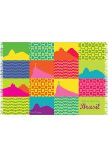 Multibarevný, višívaný sarong se symboly Rio de Janeiro - CANGA CARIOCA PATCHWORK