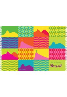 Pareo multicolore, patchwork con emblemi di Rio de Janeiro - CANGA CARIOCA PATCHWORK