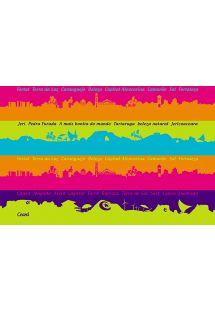 Pareo mit aufgedruckten farbigen Streifen mit Motiven der Landschaften Ceara - CANGA CEARA LISTRAS