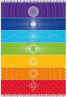 Pareo med frynser og farvestrålende chakra-motiver - CANGA CHAKRA