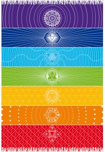 Paréo frangé multicolore motifs chakras - CANGA CHAKRA