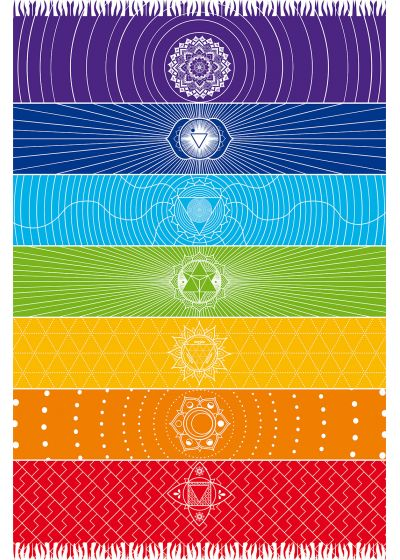Flerfärgad pareo med fransar och Chakra-motiv - CANGA CHAKRA