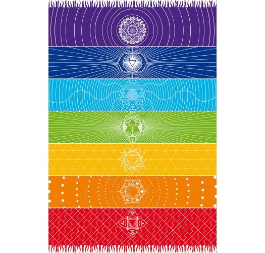 Fringed multicoloured pareo with chakra motifs - CANGA CHAKRA