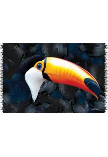 Pareo with the head of a toucan on a black background - CANGA FACE TUKANO