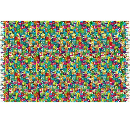 Multicoloured favelas pareo - CANGA FAVELINHA