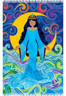 Par�o bleu avec divinit� africaine de la mer - CANGA IEMANJA NARA