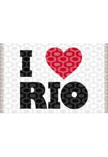 Proclaim your love of Rio de Janeiro with this grey and white sarong decorated with a sweet red heart. - CANGA IPANEMA LOVE RIO