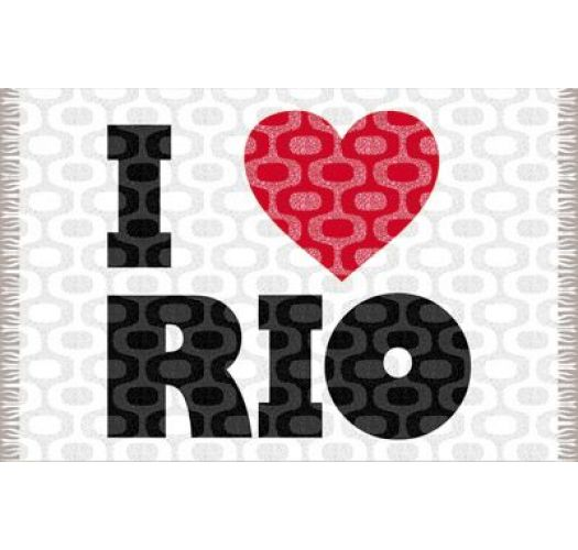 Proclaim your love of Rio de Janeiro with this grey and white sarong decorated with a sweetred heart. - CANGA IPANEMA LOVE RIO