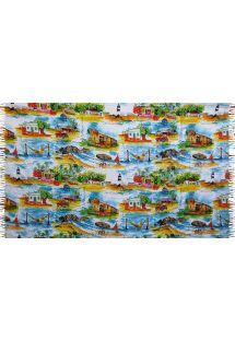 מגבת חוף עם נופי ג&#39ריקואקוארה בצבעי מים - CANGA JERICOACOARA AQUARELA