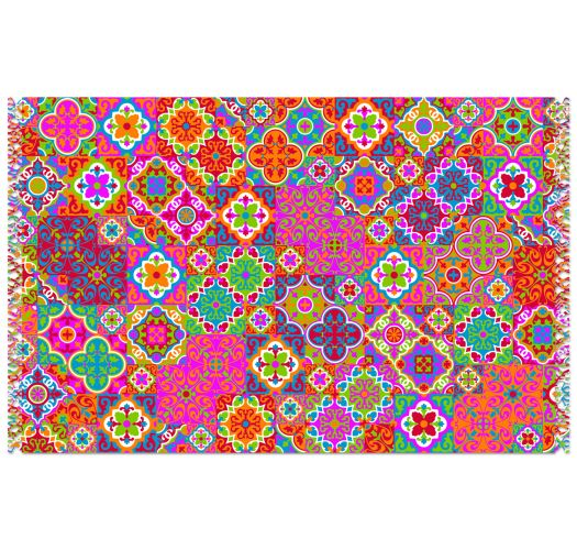Paréo multicolore avec arabesques type mosaïque - CANGA LADRILHO