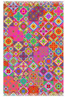 モザイク風のアラベスクが描かれたマルチカラーパレオ - CANGA LADRILHO