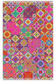 Mozaik tarzı arabesk süslemeli çok renkli pareo - CANGA LADRILHO