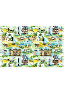 纳塔尔水彩画明信片图案沙滩巾 - CANGA NATAL AQUARELA