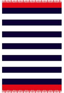 Navy blue, white and red striped pareo - CANGA NAVY COMBO
