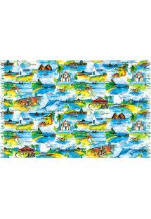 费尔南多�迪诺罗尼亚群岛水彩画沙滩巾 - CANGA NORONHA AQUARELA