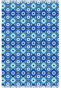 Geometric blue pareo, Greek eye symbol - CANGA OLHO GREGO