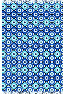 Geometrisk blå pareo med græsk øje-symbolik - CANGA OLHO GREGO