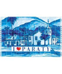 Blue pareo, artist`s impression of the town of Paraty - CANGA PARATY AZULEJO