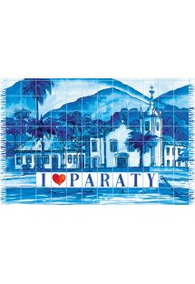 Blue pareo, artist`s impression of the town of Paraty - CANGA PARATY AZULEJO