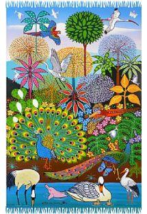 Paréo dessin naïf multicolore forêt - CANGA SELVA NAIF