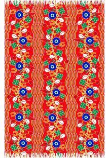 Czerwone pareo z radosnym deseniem - CANGA SORTE VERMELHO
