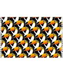 Black and orange pareo, toucan heads printed pattern - CANGA TUCANO