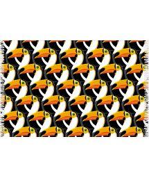 Black and orange pareo, toucan heads printed pattern - CANGA TUCANO