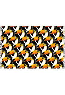 Sort og orange mønstret pareo med tukanfugle - CANGA TUCANO