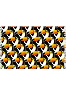 Pareo, Farbe: schwarz und orange, Motiv: Tukan-Köpfe - CANGA TUCANO