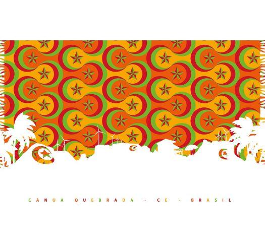 Orange pareo med psykedelisk illustration afCanoa Quebrada - CANOA SILHUETA