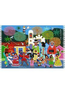 Pareo med karnevalmønster fra Olinda, naiv tegning - CARNAVAL DE OLINDA NAIF