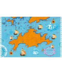 Blue/orange pareo with a nautical chart of Ilha Grande - CARTA NAUTICA