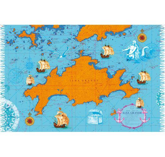Blå/orange pareo med kort over Ilha Grande - CARTA NAUTICA