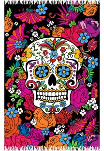 Black pareo skull motif and colourful flowers - CATRINA PRETA