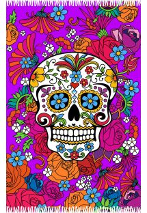 Pareo morado estampa calavera y Flores de colores - CATRINA ROXA