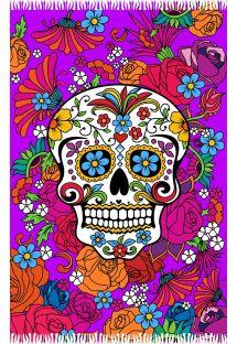 Rengarenk çiçekli kafatası motifli menekşe renkli pareo - CATRINA ROXA