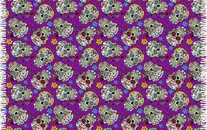 Fringed purple pareo with skulls - CAVEIRA PEQUENA ROXO
