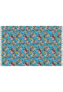 Fringed blue pareo with skulls - CAVEIRA PEQUENA TURQUESA