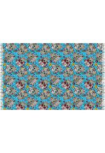 פריאו (כיסוי חלציים) עם גדילים צבע כחול עם מוטיב גולגולות - CAVEIRA PEQUENA TURQUESA