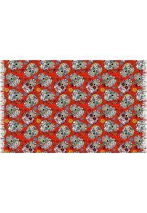 פריאו (כיסוי חלציים) עם גדילים צבע אדוםעם מוטיב גולגולות - CAVEIRA PEQUENA VERMELHA