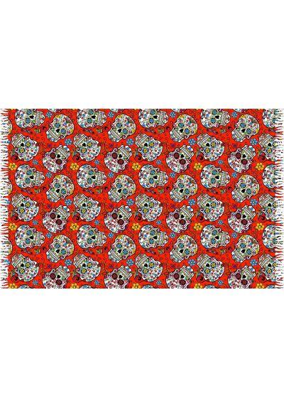 Rödpareo med fransar och kranium-motiv - CAVEIRA PEQUENA VERMELHA