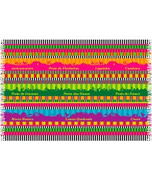 Pareo with multicoloured stripes and Ceara landscapes - CEARA MEGACOLOR
