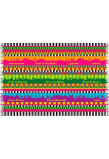 Pareo med farvestrålende striber og landskabsmotiver fra Ceara - CEARA MEGACOLOR