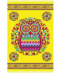Yellow fringed pareo with owl motif - CORUJA AMARELA